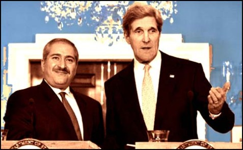 U.S. Secretary of State John Kerry with Jordanian Foreign Minister Nasser Judeh.
