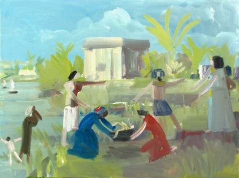 Finding of Moses (2012) 30 x 40 oil on canvas by John Bradford Courtesy the artist