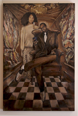 Joseph in Exile (Joseph and Osnat) (36 x 24), Oil on wood panel by Elke Reva Sudin.Courtesy Hadas Gallery