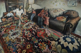 Shabbat Afternoon in Leahs Tent (36 x 60), Oil on canvas by Elke Reva Sudin.Courtesy Hadas Gallery