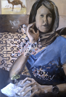 Rivka at the Well (36 x 24), Oil on canvas by Elke Reva Sudin.Courtesy Hadas Gallery