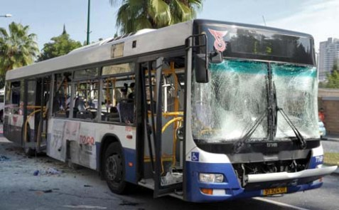 The passenger bus which was attacked on Nov. 21, 2012 in Tel Aviv.