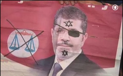 In this poster, President Morsi is being accused of being both a pirate, and a Jew.