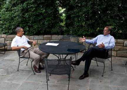 President Barack Obama meets with Speaker of the House John Boehner on the patio near the Oval Office to discuss the debt ceiling, July 3, 2011.