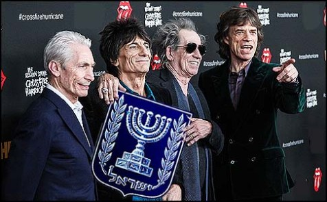 Charlie Watts, Keith Richards, Ronnie Wood and Mick Jagger of The Rolling Stones presenting Israel&#039;s official symbol.