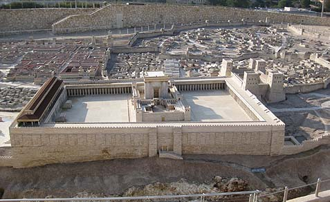 The Temple as seen in the Holyland Model of Jerusalem, a 21,520 sq. ft., 1:50 scale-model of the city of Jerusalem in the late Second Temple Period.