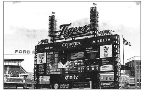 The left field scoreboard at Detroit's Comerica Park should show a lot of runs for the Tigers in 2013.