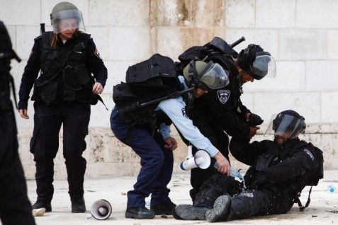 An Israeli soldier who got hit by a Molotov cocktail during a protest after Muslim prayers outside the Temple Mount compound past March.