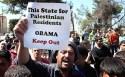 Co-existence? Palestinian demonstrators protest against the visit of US President Barack Obama  to Ramallah