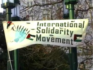 International Solidarity Movement banner in Oakland Park, March 13, 2013