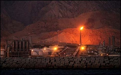 The Assaluyeh terminals on the shore of the Persian Gulf.