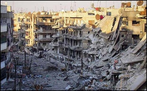 An entire block in Damascus destroyed by Syrian Army shelling.