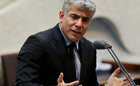 Israeli Finance Minister Yair Lapid addressing the Knesset, April 22, 2013.