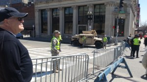 Army jeeps in the streets of Boston