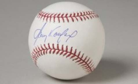 A baseball signed by Sandy Koufax displayed in National Museum of American Jewish History.