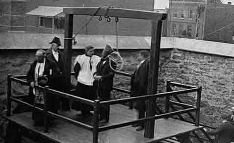 Execution of Stanislaus Lacroix by John Robert Radclive on March 21, 1902, at Hull, Quebec, said to be the last publicly viewed execution in Canada.