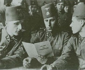 Muslim Waffen SS soldiers reading a pamphlet by the Mufti of Jerusalem Haj-Amin el-Husseini. From Jennie Lebel's 2007 biography of the Mufti.