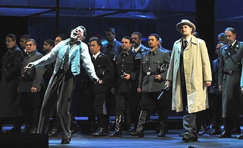 A scene from Wagner's Tannehaus opera production, staged in a concenration camp complete with Nazi atrocities acted out