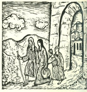 Leaving Bethlehem (1957) woodcut by Jacob Steinhardt. Courtesy Jewish Publication Society, Philadelphia