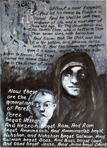 The Book of Ruth (last page) (2011) acrylic & ink on paper by David Wander. Courtesy the artist.