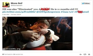 Mona Seif's vicious tweet blaming Israel for death of Omar Misharawi's baby, when it was a Hamas rocket that killed Misharawi's infant son.