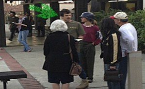 Najib Hamideh and other SJP students at Claremont McKenna College, after mock Israeli checkpoint demonstration, March 4, 2013