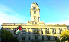 "Paterson, NJ City Hall flew the Palestinian flag on Sunday, May 19, which Paterson Mayor Jeffrey Jones named ""Palestinian American Day."""