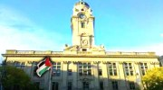 Paterson, NJ City Hall flew the Palestinian flag on Sunday, May 19, which Paterson Mayor Jeffrey Jones named &quot;Palestinian American Day.&quot;
