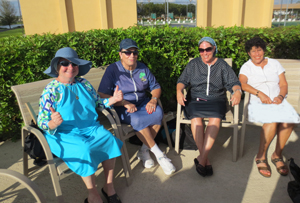 Villagers from New York enjoying the poolside. (L-R) Betsy Adress; Rivka Jacobowitz; Sandy Kenigsberg; and Helene Pfeifer.