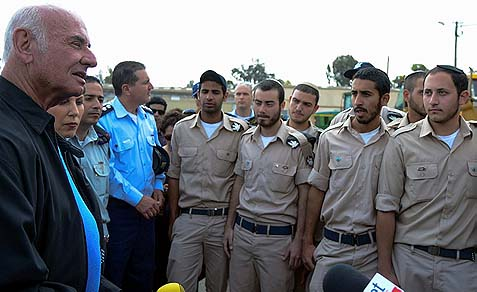 Minister Yaakov Perry, (Yesh Atid, on the left), with Minister Limor Livnat, (Likud, second from left) visit Haredi soldiers serving in the Israeli Air Force, April 23, 2013.