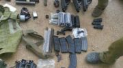Part of hoard of weapons uncovered by IDF at wanted terrorist's home near Shechem