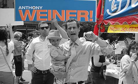 Anthony Weiner campaigned in Park Slope Sunday.