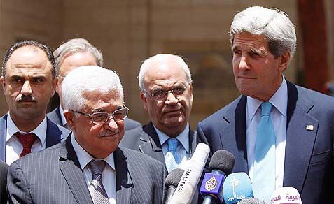 Secretary of State John Kerry and PA Chairman Mahmoud Abbas in Ramallah, Sunday, June 30, 2013.