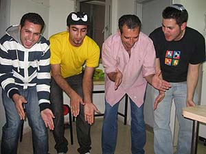 Jordanian students dancing with an Israeli at BGU