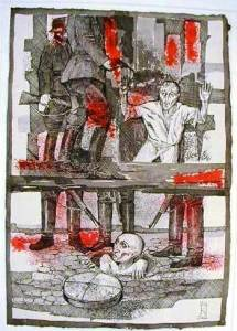 "The Warsaw Ghetto (1966), 40 gouache, pen and ink paintings by Jozef Kaliszan Massacre ""What's Left of Us"" (#35). Courtesy Kestenbaum & Company."