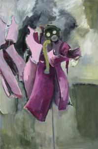 Mannequin at War (2013) 72 x 48, acrylic on canvas by Leah Raab. Courtesy the artist.