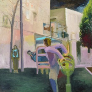 Beit Shemesh Playground (2013) 49 x 49, oil on linen by Leah Raab. Courtesy the artist.