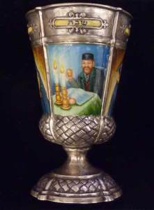 German Silver and Enamel Kiddush Goblet. Courtesy Kestenbaum & Company.