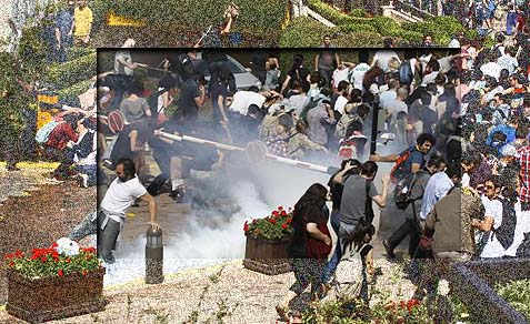 The decision to break up the protest came on the fourth day after hundreds set up an encampment associated with the Occupy movement in the Taksim Square Gezi Park.