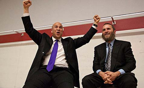 Rabbi Shmuely Boteach (R.) and Mayor Cory Booker.