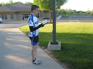 cyclist davening