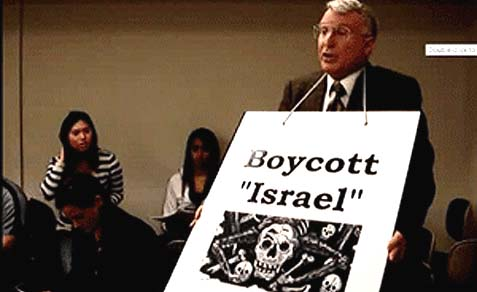Ant-Israel Activist Blaine Coleman with the ad the bus company won't accept.