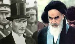 Their views of Islam differed as much as their appearances: Atatürk (left) and Khomeini.