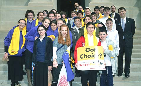 Students and staff of the Torah Day School of Atlanta standing on the steps of the Georgia State Capitol following a school choice rally, January 2012.