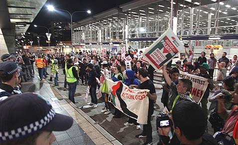 Anti-Israel BDS protesters in Parramatta, a suburb of Sydney, Australia.
