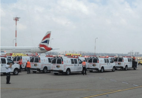 Ambulances lined up at Ben Gurion Airport