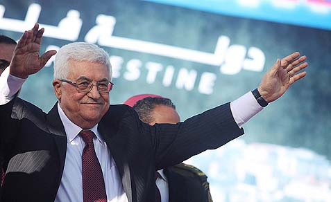 PA Chairman Mahmoud Abbas waving to the crowd.