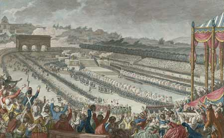 The Fête de la Fédération, held in the Champ de Mars, in July 14, 1790. Woodcut by Helman, from a picture by C. Monet, Painter of the King.