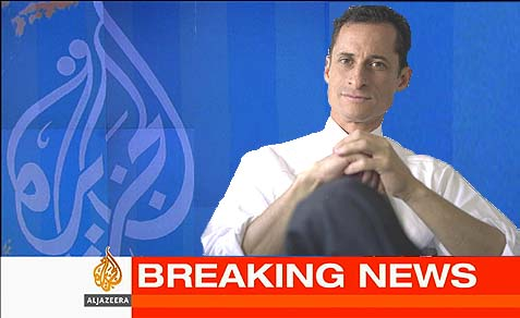 """It is funny, last week I was hit for being too hawkish on Israel and this week I being hit for being too close to Al-Jazeera,"" says mayoral candidate Anthony Weiner."