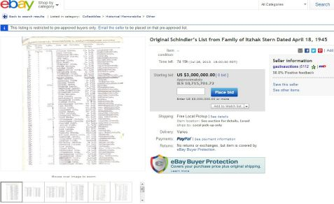 One of four existing copies of 'Schindler's List' is offered on eBay with a starting price of $3 million